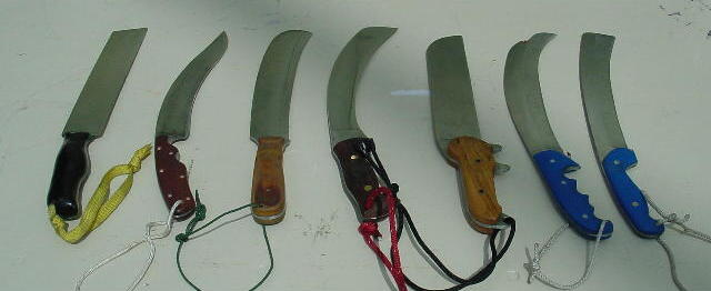 The knives that cut the free hanging rope.